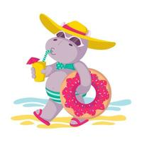 Hippo in a hat and sunglasses, with donut inflatable circle and a drink in hand goes to the beach. Summer mood, sea, sun. Vector children illustration isolated on white background.