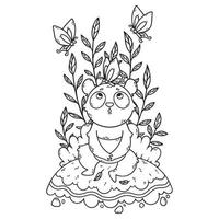 Cute little panda bear sitting in a meadow and butterflies are flying around. vector