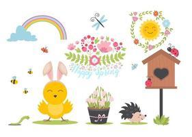primavera de pascua con lindos animales, pájaros, abejas, mariposas. vector