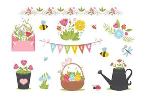 Easter spring set with cute animals, birds, bees, butterflies. vector