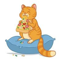 Cat with a pizza slice. vector