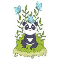 Cute little panda bear sitting in a meadow and blue butterflies are flying around. vector