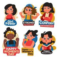 Sticker March Womens Day vector