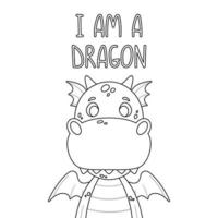Poster with cute dragon and hand drawn lettering quote - i am a dragon. Nursery print for kid posters. Vector illustration on white background.