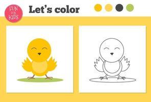 libro para colorear pato para niños en edad preescolar con un nivel de juego educativo fácil. vector