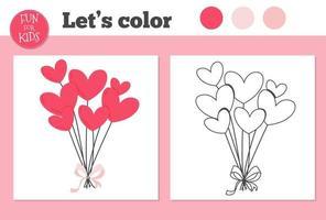 libro para colorear globos de corazón para niños en edad preescolar con un nivel de juego educativo fácil. vector