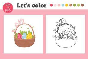 Libro para colorear huevos de Pascua para niños en edad preescolar con un nivel de juego educativo fácil. vector