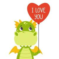 Cute green dragon with balloon in shape of heart and hand drawn lettering quote - I love you. Valentines day greeting card. Vector illustration isolated on white background for print, card and poster.