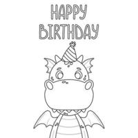 Happy birthday greeting card. Outline. vector