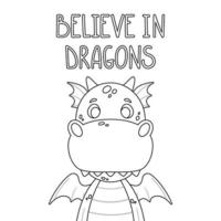 Cute cartoon dragon. vector
