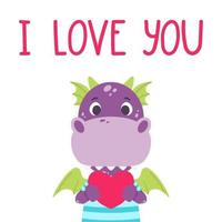 Cute violet dragon with heart and hand drawn lettering quote - I love you. Valentines day greeting card. Vector illustration isolated on white background for print, card and poster.