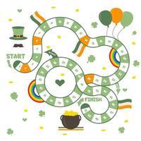 juego de mesa con un camino de bloque. temporada de primavera juego del día de san patricio para niños. vector