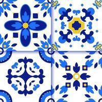 Azulejos Portuguese tile floor pattern vector