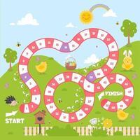 juego de mesa con un camino de bloque. juego de primavera para niños. vector