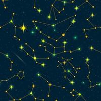 Zodiac constellations seamless pattern. Vector space and stars illustration.