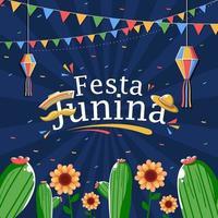 festa junina celebración backgorund vector