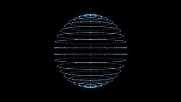 3d Sphere Box With Glowing Strokes Spinning Loop video