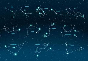 Zodiac constellations. Vector space and stars illustration.