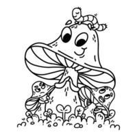 Cute cartoon mushrooms on green grass with caterpillar. vector