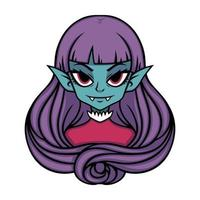Vampire girl portrait. Halloween illustration for posters and stickers . Vector illustration isolated on white background.