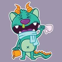 pequeño monstruo lindo que va a estornudar. vector