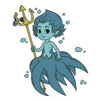 Male mermaid. Vector illustration.