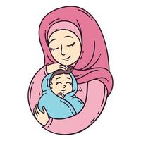 Muslim mother holding baby. vector