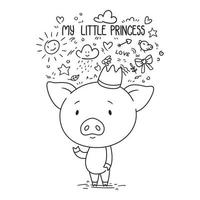 My little princess. Cute piggy in crown. vector