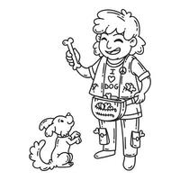 Man with dog. Dog training. vector