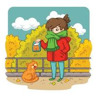 A young woman is planning to feed a stray cat. vector