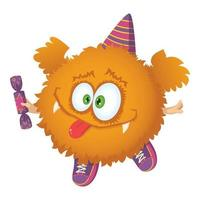 Cute red fluffy character with wings, sneakers, party cap and candy. vector