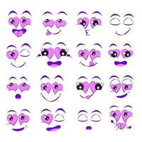 Facial expressions set. Caricature of lovers cartoon faces. Isolated vector illustration icons