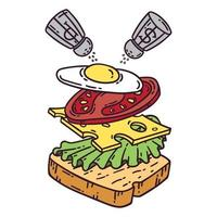 Sandwich with egg. vector