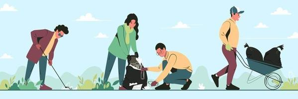 A group of young people volunteers cleaning garbage in park. Altruistic guys and girl care for environment together. Vector flat illustration