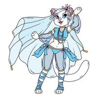 Cute cat woman belly dancer. vector