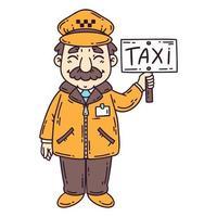 Happy taxi driver. vector