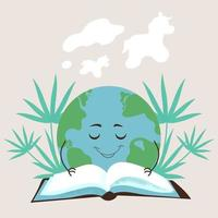 Cute planet earth is reading a book of fairy tales. Flat vector illustration on isolated light background