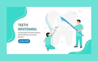 Teeth whitening landing page. Doctors clean and cover a large tooth with white varnish. Dental care concept vector