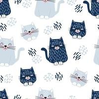 Cute cats childrens character illustration. Seamless vector pattern for wallpapers, wrapping paper, backgrounds