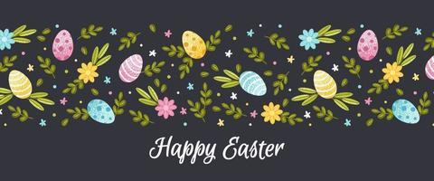 Happy easter banner. Flat vector illustration with spring flowers, foliage and painted eggs on a dark background
