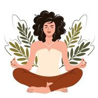 Young happy woman in yoga lotus pose. Girl meditation and mindfulness practice, spiritual discipline. Flat cartoon vector illustration.