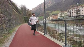 Red Cycle and Walkable Path with Runner During a Workout video