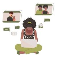 African American black woman chatting with friends online on a laptop. Social networks. Isolated vector illustration on white background.