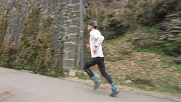 A Young Bearded Runner During a Road Workout video
