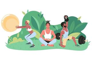 Young people of different nationalities go in for outdoor sports in the park. Flat vector illustration