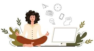 Business woman meditates in the office. Concept yoga, relax, trying to release stress at work. Vector illustration in flat cartoon style