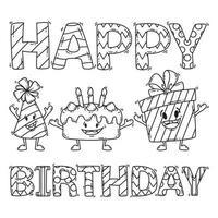 tarjeta de cumpleaños con pastel, presente y gorro de fiesta. vector
