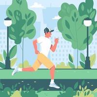 chico joven feliz corriendo en el parque de la ciudad. estilo de vida activo y saludable, entrenamiento, ejercicio cardiovascular. ilustración vectorial en estilo plano vector