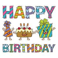 Birthday card with cake, present and party hat. vector
