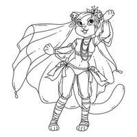bailarina del vientre de la mujer linda del gato. vector